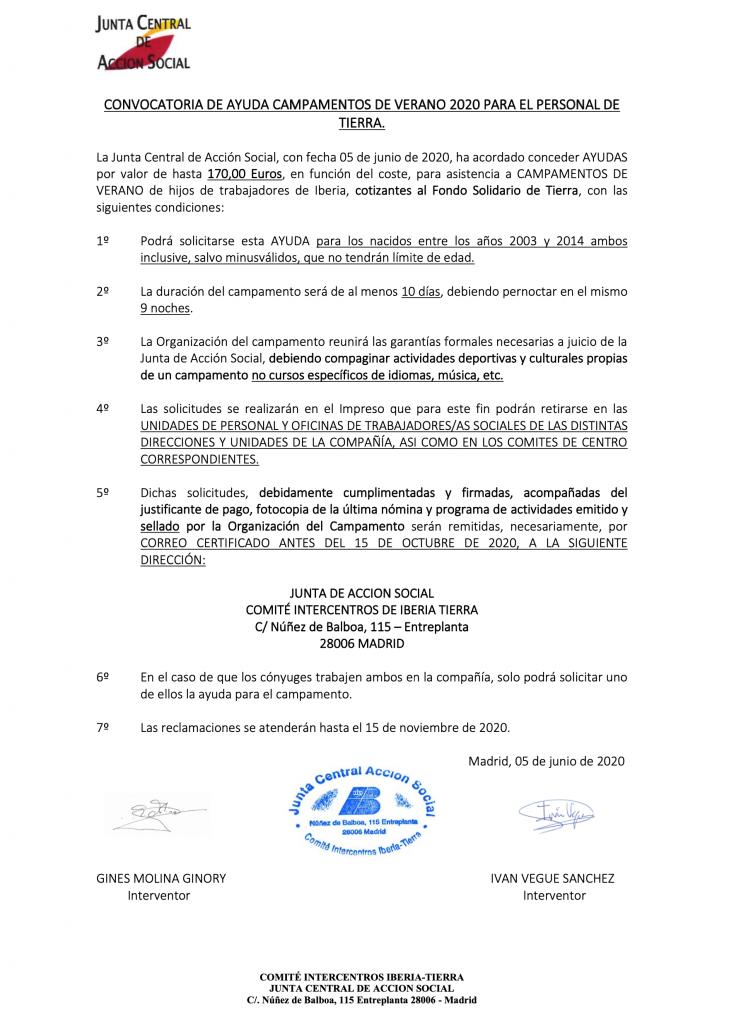 Ayuda campamentos Verano Iberia 2020_Sindicato CTA
