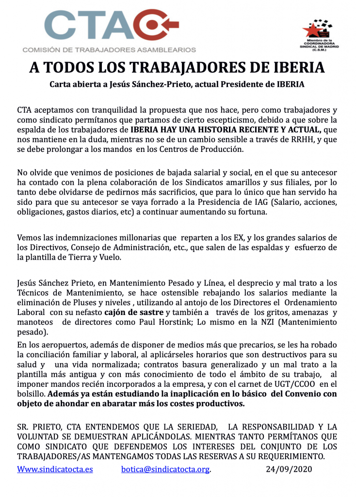 Carta Al Presidente de Iberia_CTA