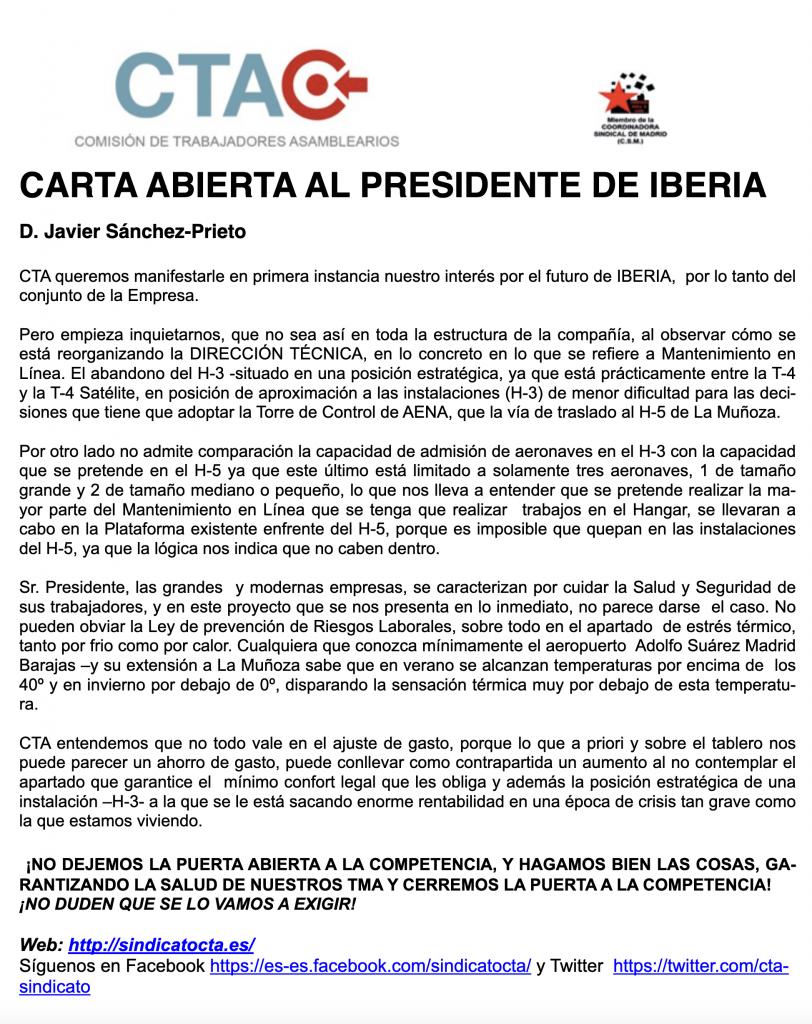 Carta abierta al Presidente de Iberia