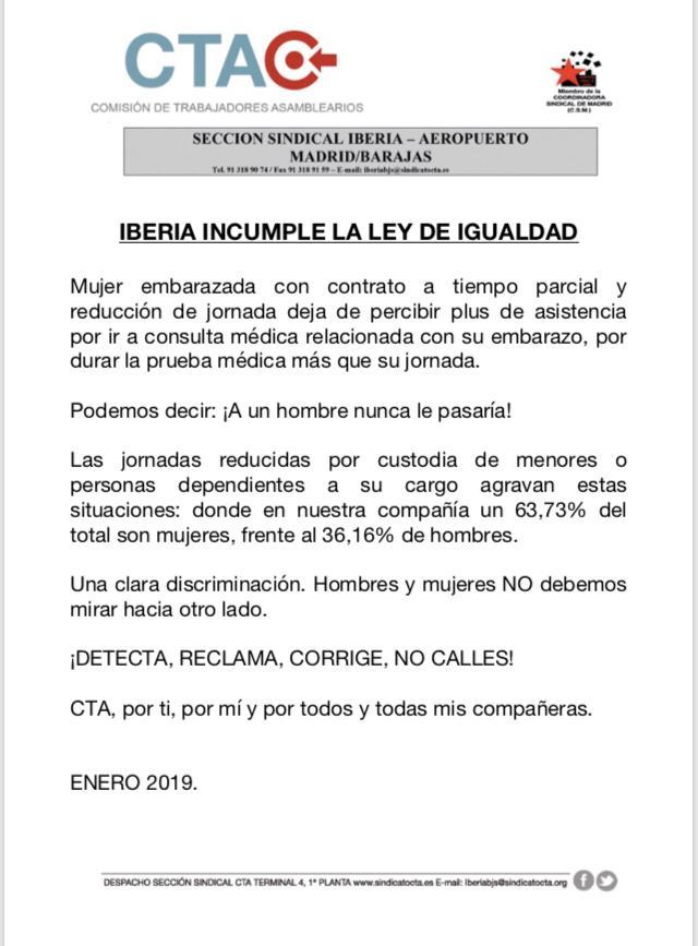 Iberia incumple Ley de Igualdad