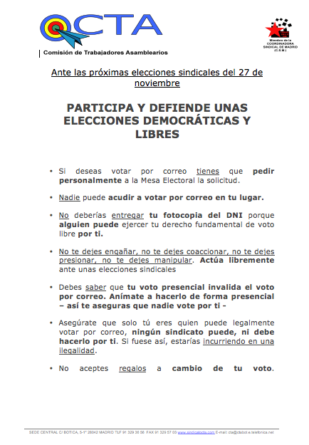 Votaciones Sindicales 27 NOV 2014
