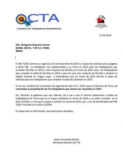 Carta consulta prejubiliaciones ERE